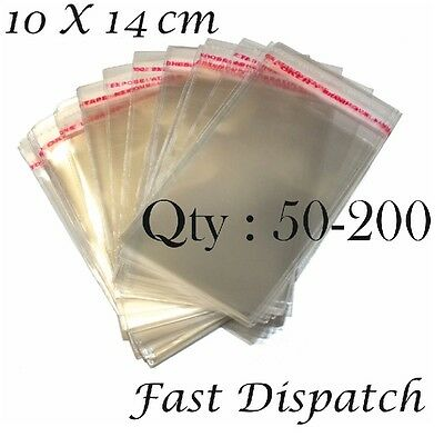 50 - 200 Cellophane Bags 10 X 14 cm Clear Cello Display Self Adhesive Peel& Seal