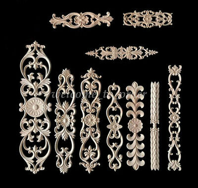 1PC Classic Rubber Wood Carved Applique Vintage Cupboard Craving Decor DIY Craft
