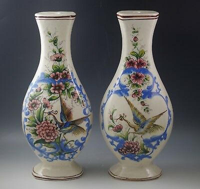 Antique  Italian Pottery Bird Of Paradise Chinoiserie Set Of 2  Lamp Bases Pair