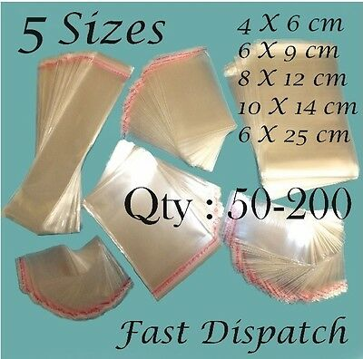 50 - 200 Clear Cellophane Bags Display Cello Self Adhesive Peel & Seal 5 sizes