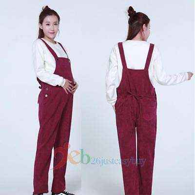 Pregnant Maternity Casual Women Overalls Trouser Corduroy Loose Jumpsuit Pants
