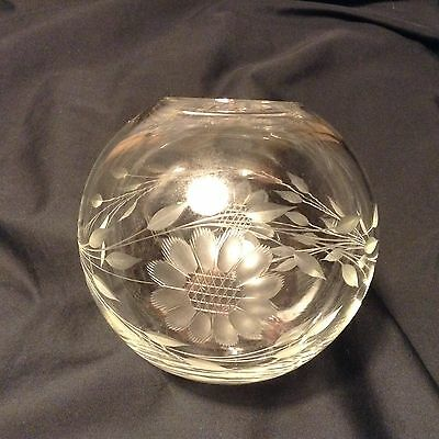 """Lovely W J HUGHES CORNFLOWER Rose BOWL 4.5x4"""" Well etched 2-12 petal flowers"""