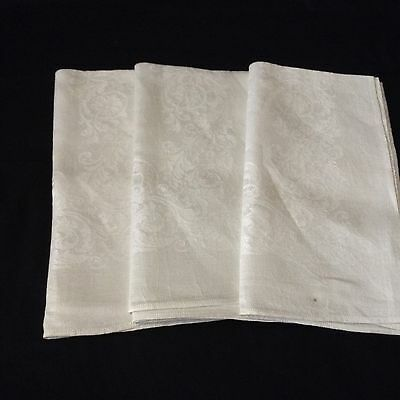 "3 Nice DOUBLE DAMASK IRISH LINEN NAPKINS 21.5x21"" Ivory SCROLLS FRONDS FLOWERS"