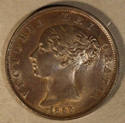1853 Great Britain 1/2 Penny Glossy Brown High Grade    ** Free U.S. Shipping **