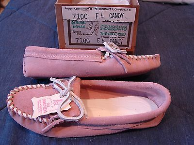 LAST PAIR   New Genuine CHEROKEE Indian Moccasins – Ladies Size 4 - Candy shade