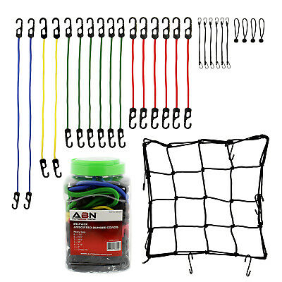 ABN® Bungee Cords with Hooks 24pc Tie Down Cord Assortment & FREE Cargo Net