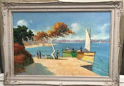 1970s French impressionist painting of St.Tropez in South of France - DOYLY JOHN