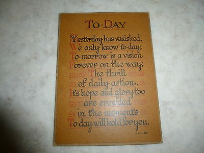 Vintage, 'TO-DAY', Words, Saying on Plaque