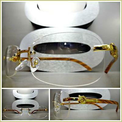 Men CLASSY READING GLASSES READERS Gold & Wood Wooden Effect Fashion Frame +3.00