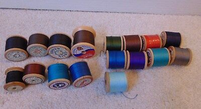 Vintage Lot Of Wooden Cotton Reels 17 In Total
