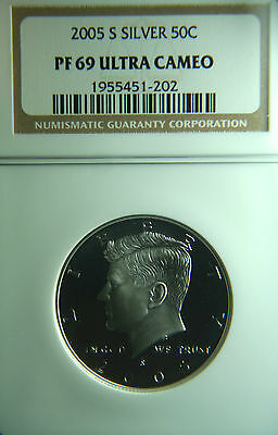 2005-S Kennedy Silver Half Dollar 50C NGC PF69 Ultra Cameo