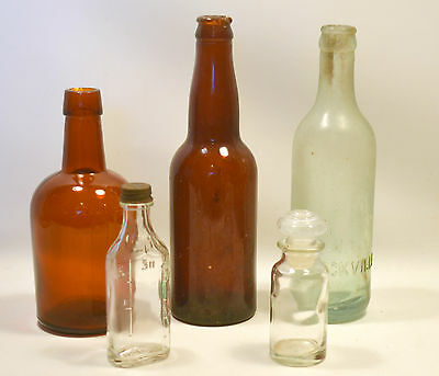 Lot of 5 Antique and Vintage Glass Bottles Clear, Amber