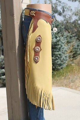 Chinks Chaps quality soft leather with Sunflower Conchos