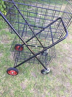 Shopping Trolley Collapsible With STRONG Swivel Wheels Steel Double Basket cart