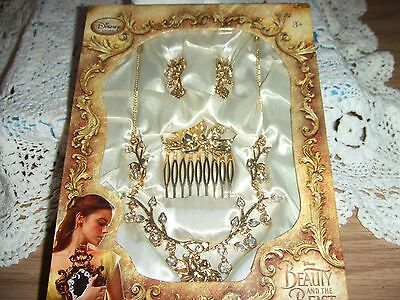 Disney Store Beauty & the Beast Deluxe Accessory set necklace earrings comb NEW