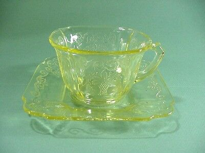 Indiana Depression Glass: Yellow Lorain Basket Pattern,  6 Sets: Cups & Saucers