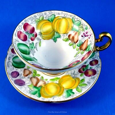 """Hand Painted Old Royal Fruits """"Fiesta"""" Tea Cup and Saucer"""