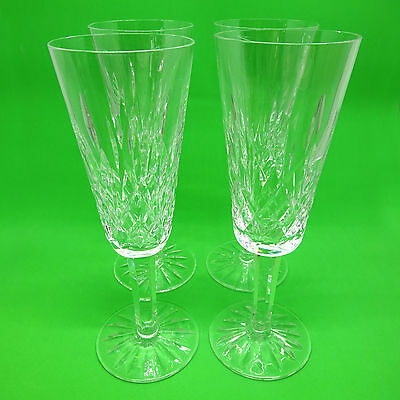 4pc Set Vintage Waterford Lismore Champagne Flutes, 7 3/8″ Tall