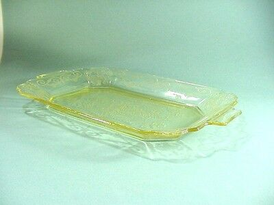 Indiana Depression Glass: Yellow Lorain Basket Pattern: 2 Rectanglur Platters