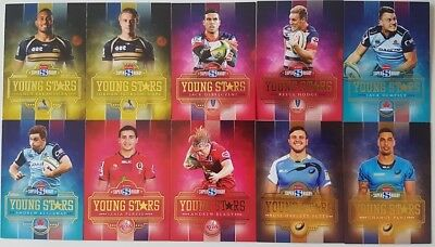 2017 Tap N Play Super Rugby Union Complete 10-Card Young Stars Insert Set