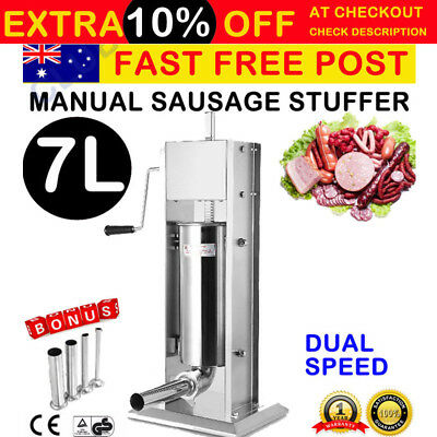 7L Commercial Stainless Steel Sausage Meat Stuffer & Filler Vertical Machine NEW