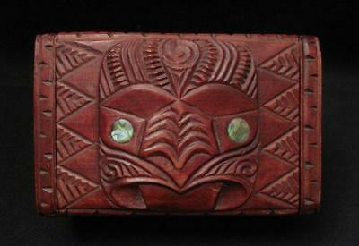 Vintage Maori Tiki Handcarved Wooden Feather Trinket Box Signed Peter Coatsworth