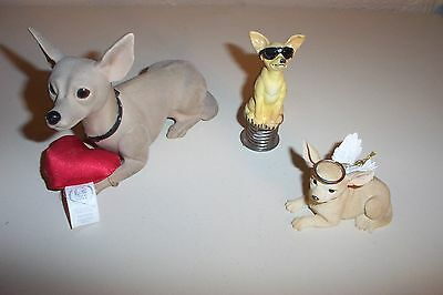 VTG Lot of 3 Chihuahua Dogs Angel Wings, Taco Bell, On Springs / Sunglasses