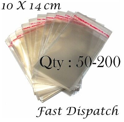 50 - 100 - 200 Cellophane bags 10 X 14 cm Clear Cello Party jewellery Packing
