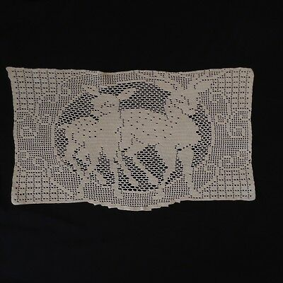 Vintage FILET CROCHET DOILY w/ DEER 14.5x8.25 in Lovely Condition HAND MADE