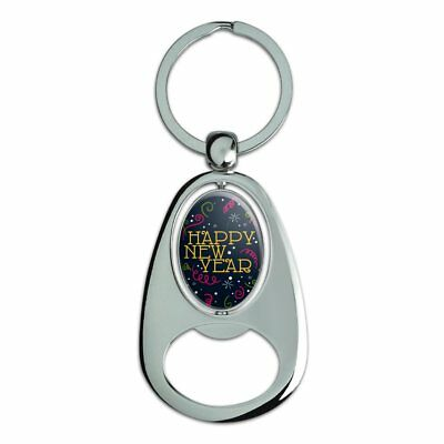 Happy New Year Chrome Plated Metal Spinning Oval Design Bottle Opener Keychain