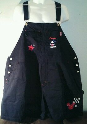 "Disney's Classic Mickey Mouse Navy Blue w/ Red Paisley Overalls Size 52""-56"" W"