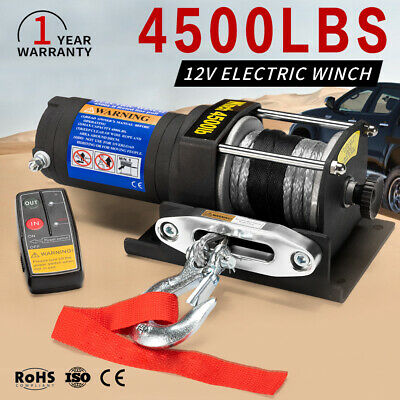 12V 4500LBS / 2041Kg Wireless Electric Winch Synthetic Rope 4wd Boat ATV 12Volt
