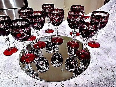Set of 11  Bohemian/ Romanian Dark Burgundy Red Cut Glass ,Cut To Clear ,Wines