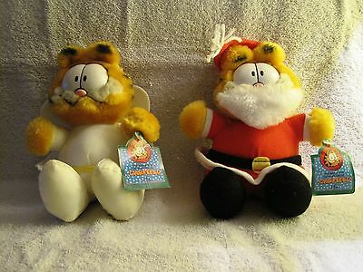New - With Tags - Christmas Garfield & Angel Garfield - Plush Toys - Mcdonalds!