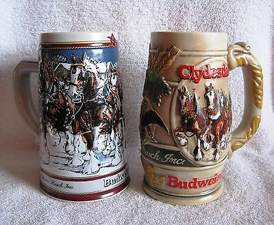 Beautiful - Set Of 2 - Budweiser - Promo Beer Steins - Rare Find - Great Gifts!!