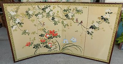 Vintage Oriental Hand Painted Half Screen Birds Asian Floral  Fireplace (rx-15)