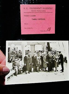 S.S. PRESIDENT HARDING United States Lines Steamship Photo + Table Ticket c.1930