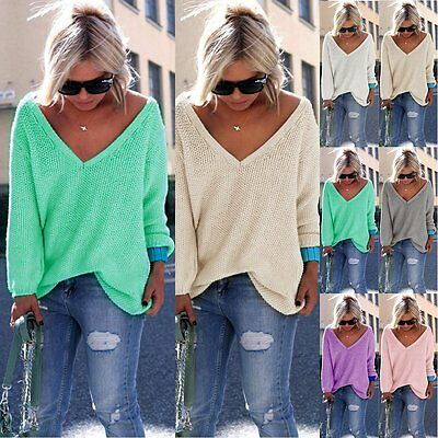 Women Lady V Neck Long Sleeve Loose Knit Sweater Casual Slouchy Solid Jumper Top