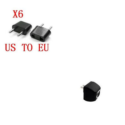 Round Outlet American to European Plug Adapter - 6 Pack