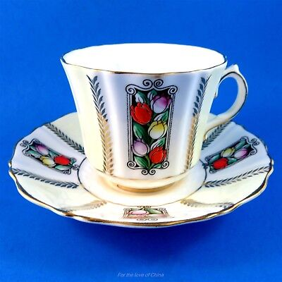 Pretty Hand Painted Tulips Old Royal Tea Cup and Saucer Set