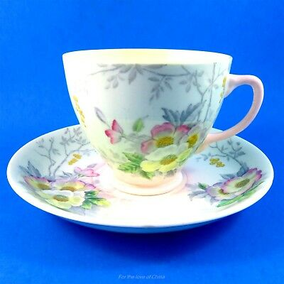 Pastel Florals on Light Green Old Royal Tea Cup and Saucer Set