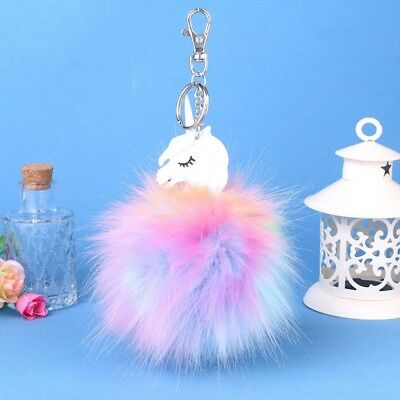 Unicorn Faux Fur Ball Key Chain Key Ring Key Chain Ring Bag Pendant Gift Kawaii