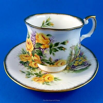 Pretty Yellow Roses and a Sun Dial Pillar Queen's Tea Cup and Saucer Set
