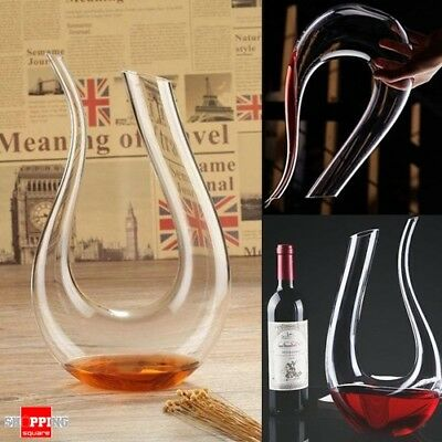 1.5L Luxurious U-shaped Horn Crystal Clear Glass Wine Decanter