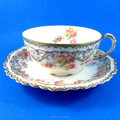Victorian Pink Rose Garland with Blue Design J Pouyat Limoges Tea Cup and Saucer