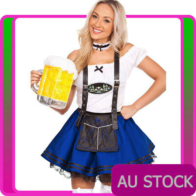 Womens Beer Maid Wench Costume Oktoberfest Blue German Fancy Dress Halloween