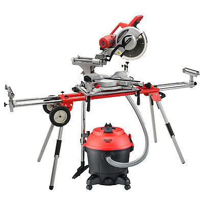 "12"" 305mm Sliding Compound Mitre Saw with Universal Saw Stand and Shop Vacuum"