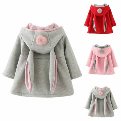 Toddler Kids Baby Girl Cute Rabbit Ear Hooded Coat Jacket Winter Outwear Clothes