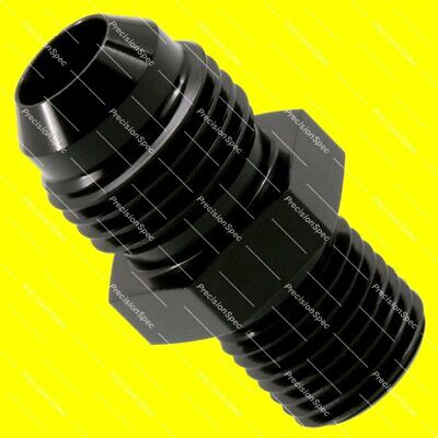 AN6 Aluminium Straight Male Flare to M12x1.25 Metric Fitting Adapter - Black