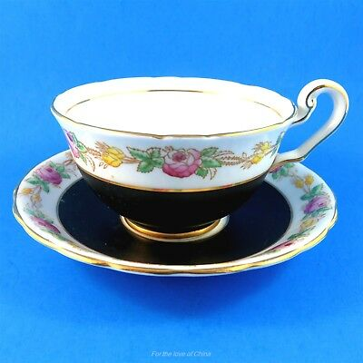 Hand Painted Victoria Black and Rose Garland Tea Cup and Saucer Set